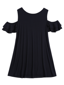 Cold Shoulder Ruffle T-Shirt Dress - Black Xl
