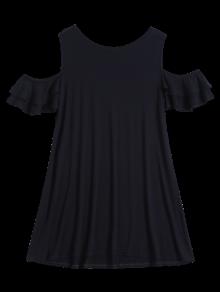 Cold Shoulder Ruffle T-Shirt Dress - Black Xl