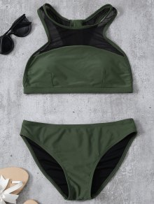 Back Zipper Mesh Panel Bikini Set