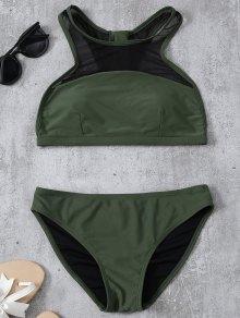 Back Zipper Mesh Panel Bikini Set - Army Green L