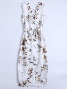Slit Sleeveless V Neck Floral Maxi Dress - White