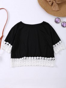 Oversized Lace Hem Crop Tee