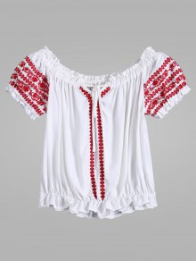 Embroidered Tie Neck Crop Ruffle Top - White