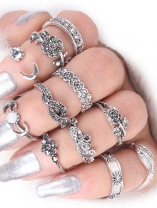 Rose Flower Leaf Moon Alloy Ring Set - Silver