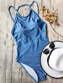 Open Back High Neck One Piece Swimsuit - Blue