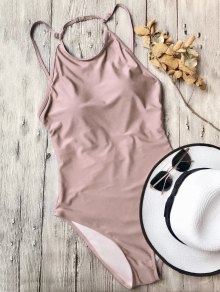 Open Back High Neck One Piece Swimsuit - Pink S