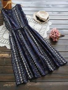Flower Drawstring Waist Sleeveless Linen Dress - Cerulean