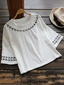 Leaf Embroidered T-Shirt - White