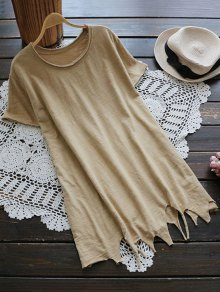 Ripped Hem Short Sleeve Tunic T-Shirt