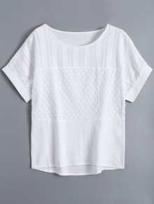 Short Sleeve Flowers Embroidered Top - White S