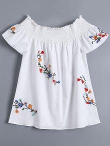 Off Shoulder Flower Embroidered Smocked Top - White L