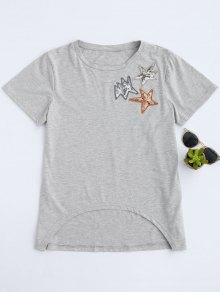 Dip Hem Sequined Star Camiseta - Gris S