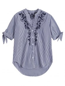 Hollow Out Embroidered Striped Shirt - Blue Stripe S
