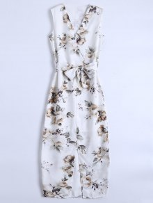 Slit Sleeveless V Neck Floral Maxi Dress - White