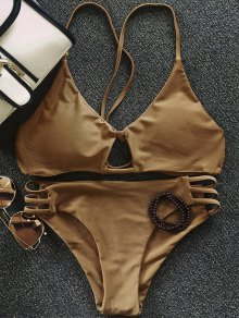 Solid Color Elastic Cami Bikini Set - Coffee