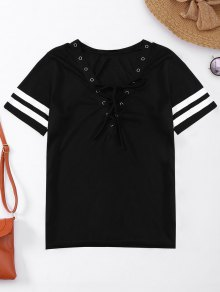 Lace Up T-Shirt With Stripe