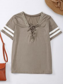 Lace Up T-Shirt With Stripe - Khaki S