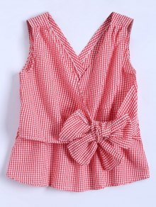 Sleeveless Plaid Wrap Bowknot Blouse - Red M