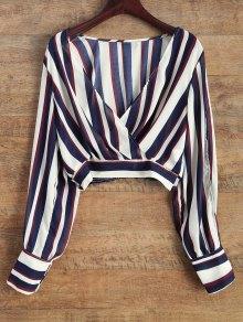 Striped Slit Sleeve Cropped Surplice Blouse