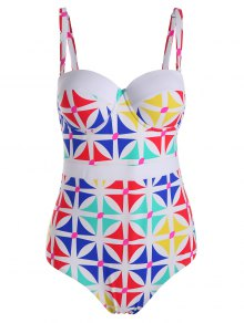 Printed Padded Plus Size One Piece Swimsuit - White Xl