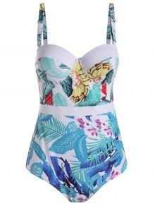 Palm Leaf Print Padded Plus Size Swimsuit - White 4xl