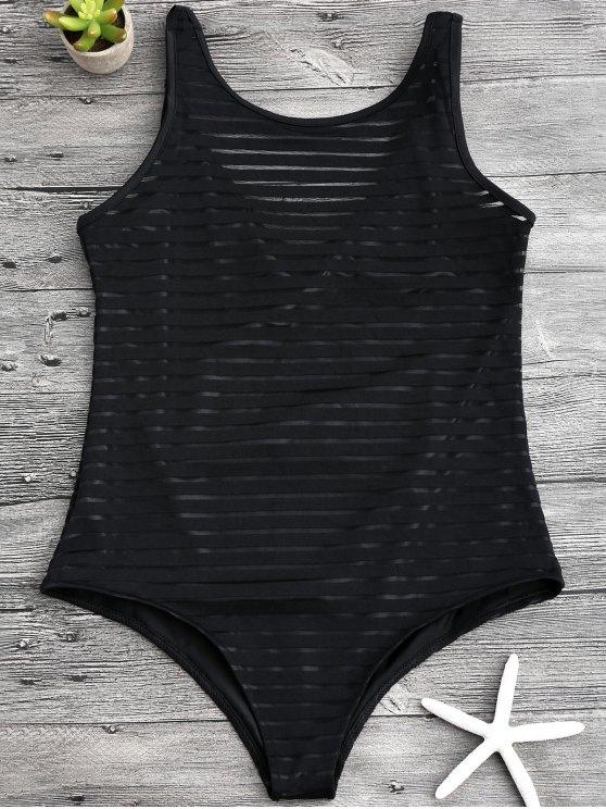 maillot de bain une pi ce transparent ray noir une pi ce xl zaful. Black Bedroom Furniture Sets. Home Design Ideas