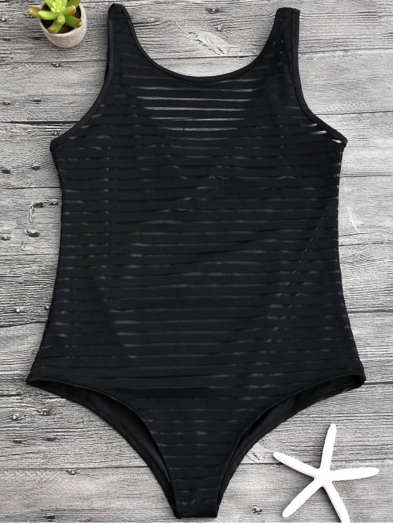 chic Sheer Stripe Slimming One Piece Swimsuit - BLACK S