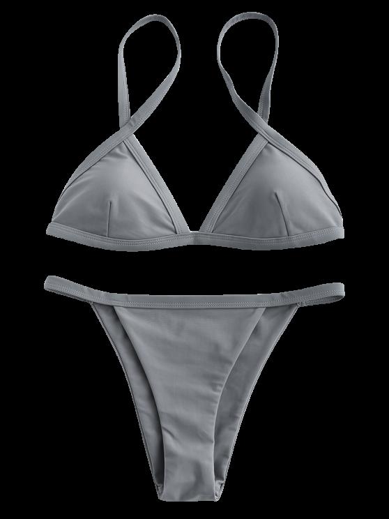 Solid Color Spaghetti Straps Low Waisted Bikini Set - GRAY M Mobile