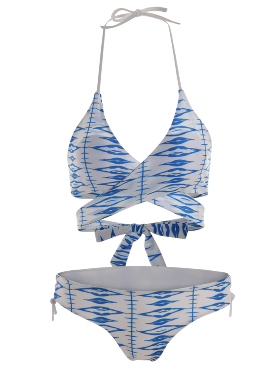 Geometric Pattern Lace Up Wrap Bikini - BLUE AND WHITE L Mobile