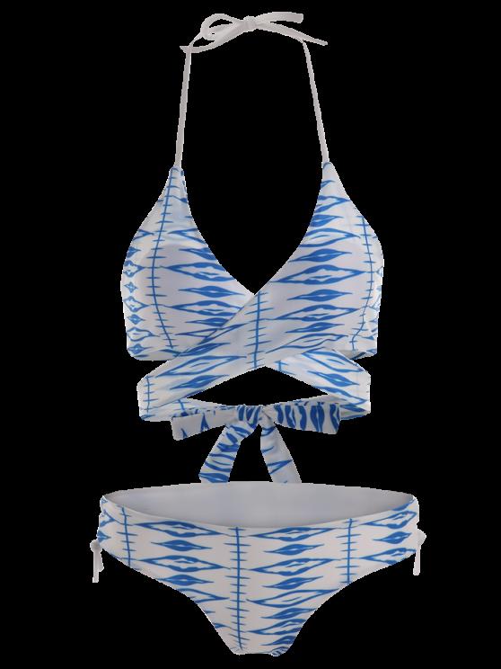 Geometric Pattern Lace Up Wrap Bikini - BLUE AND WHITE M Mobile