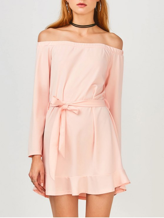 sale Off Shoulder Ruffle Hem Long Sleeve Dress - LIGHT PINK M