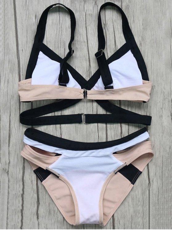 Patchwork Bandage Bikini Set - PINK S Mobile