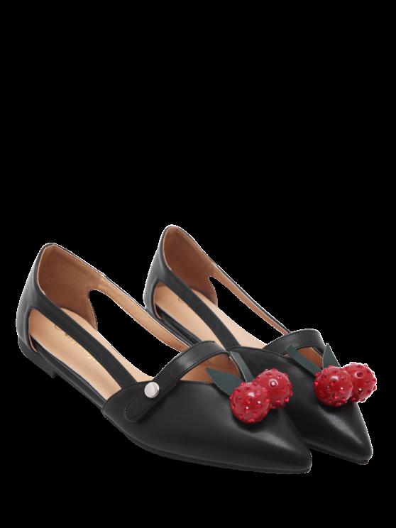 Hollow Out Zapatos de cuero de Faux de piel plana - Negro 39