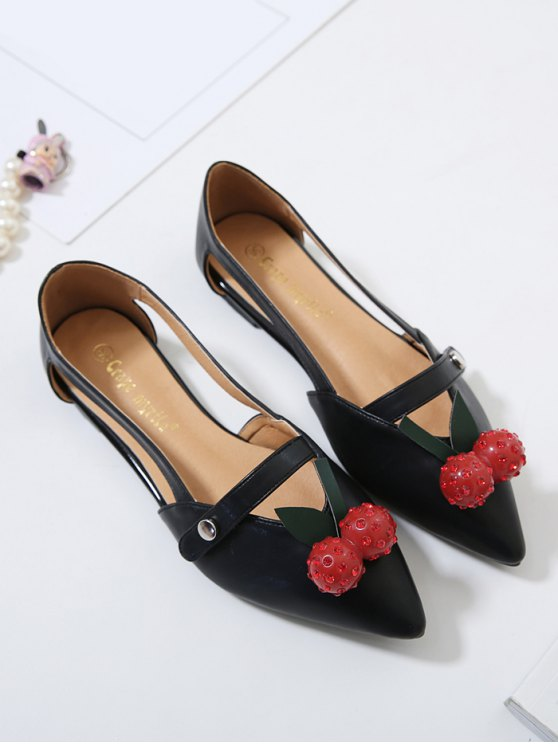 Hollow Out Cherry Faux Leather Flat Shoes - BLACK 39 Mobile