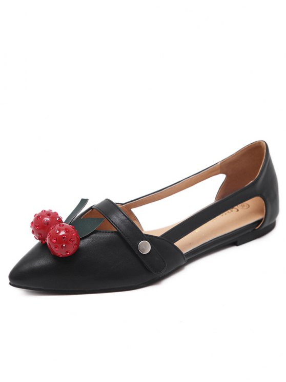 Hollow Out Cherry Faux Leather Flat Shoes - BLACK 37 Mobile
