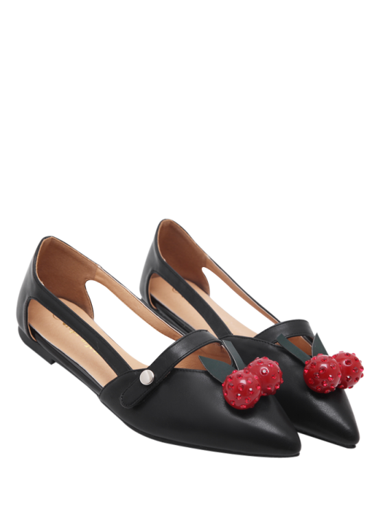 outfits Hollow Out Cherry Faux Leather Flat Shoes - BLACK 38