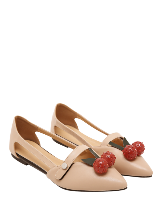 Hollow Out Cherry Faux Leather Flat Shoes - APRICOT 39 Mobile