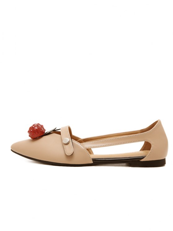 Hollow Out Cherry Faux Leather Flat Shoes - APRICOT 37 Mobile