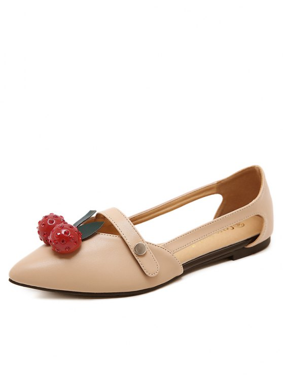 Hollow Out Cherry Faux Leather Flat Shoes - APRICOT 38 Mobile