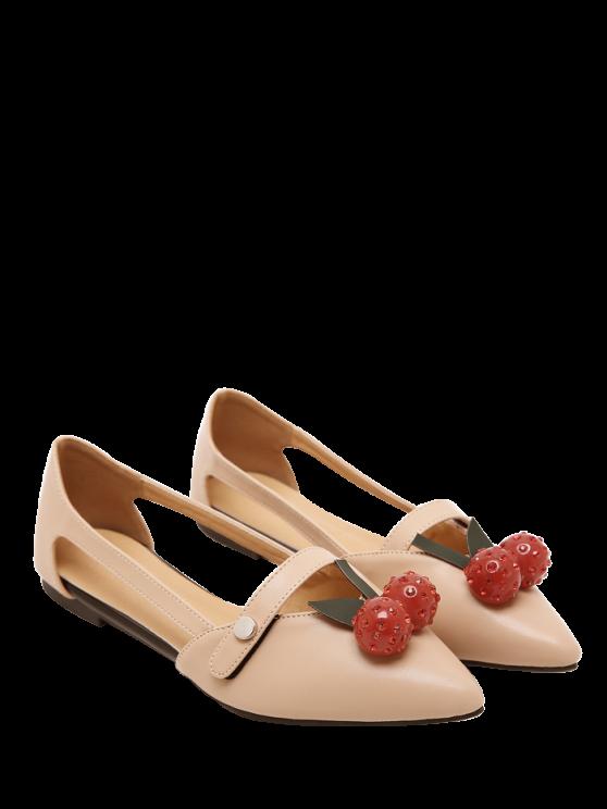 Chaussures plates à faux fourreau creux - Abricot 38