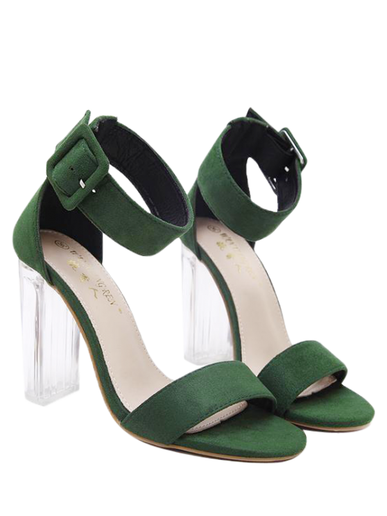 chic Flock Ankle Strap Crystal Heel Sandals - GREEN 38