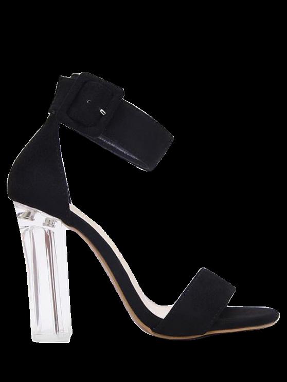 unique Flock Ankle Strap Crystal Heel Sandals - BLACK 37