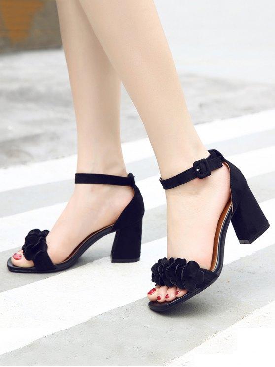 Block Heel Ankle Strap Flowers Sandals - BLACK 38 Mobile