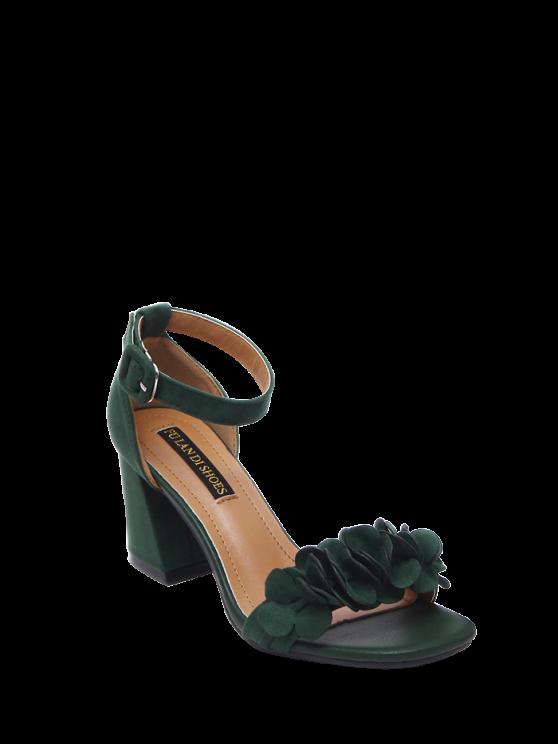 Bloque Heel Tobillo Correa Flores Sandalias - Verde negruzco 39