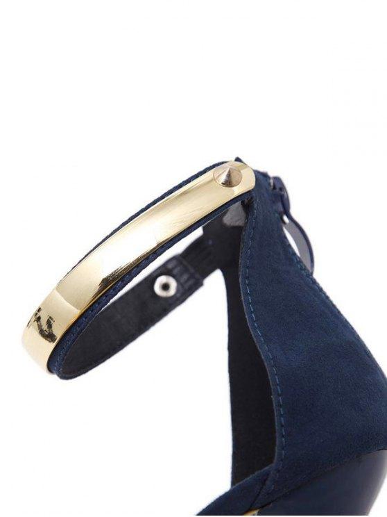 Platform Zipper Metal Rivets Sandals - CADETBLUE 37 Mobile