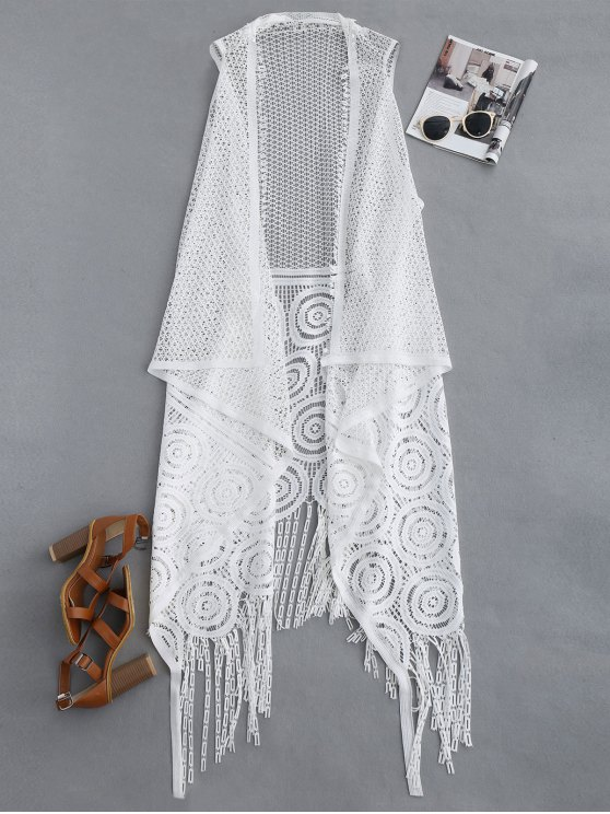 trendy Fringed Open Front Beach Cover Up - WHITE ONE SIZE