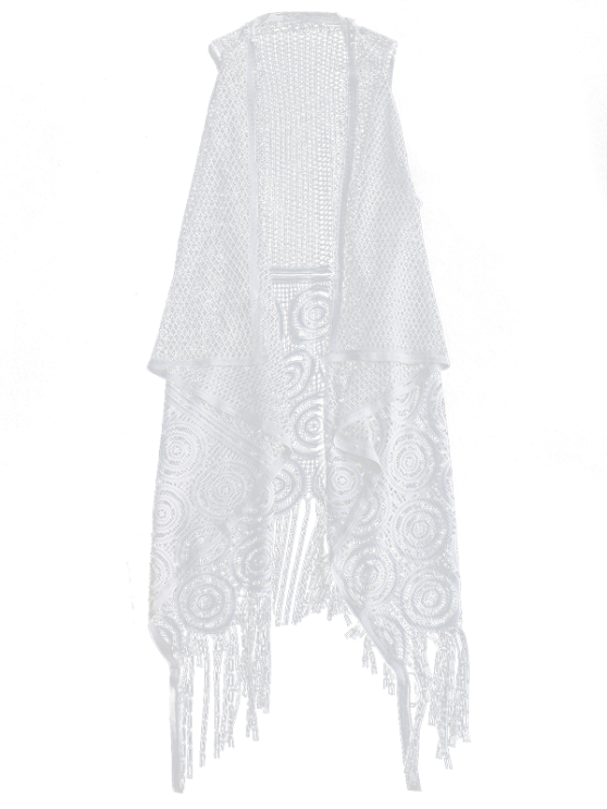 Fringed Open Front Beach Cover Up - WHITE ONE SIZE Mobile
