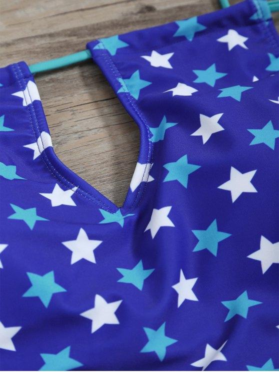 High Waisted Pentagram Print Keyhole Tankini Set - BLUE M Mobile