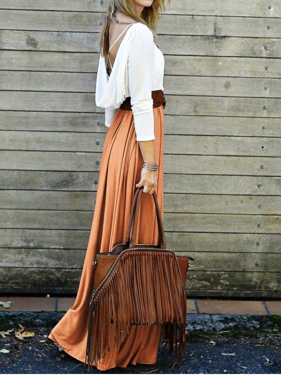 Spliced Back Criss-Cross Maxi Dress - ORANGE M Mobile