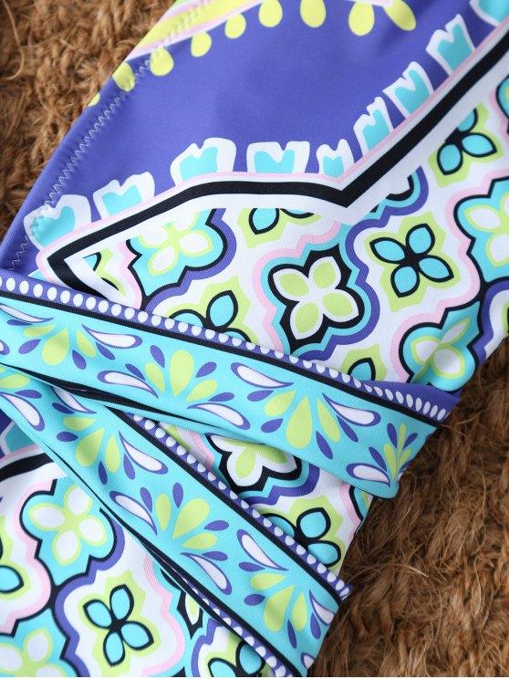 Plunge Neck Printed Criss-Cross Swimwear - MULTICOLOR M Mobile
